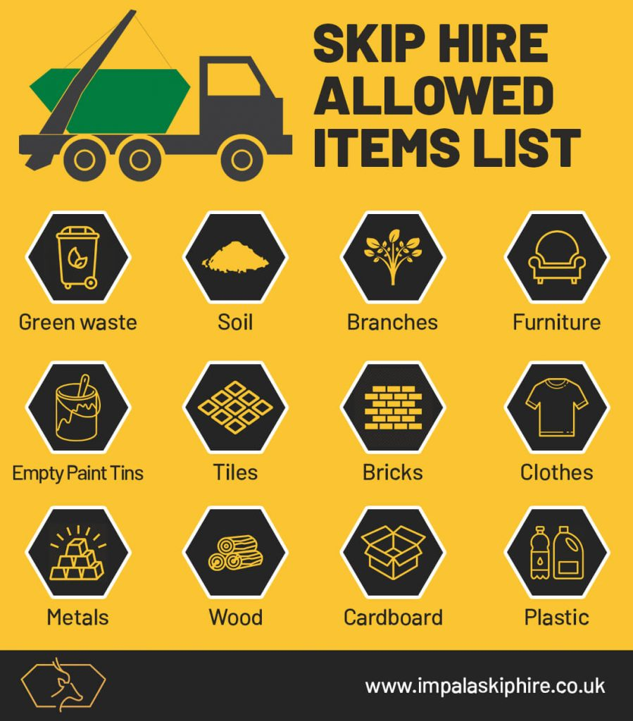 List of allowed items in waste skip