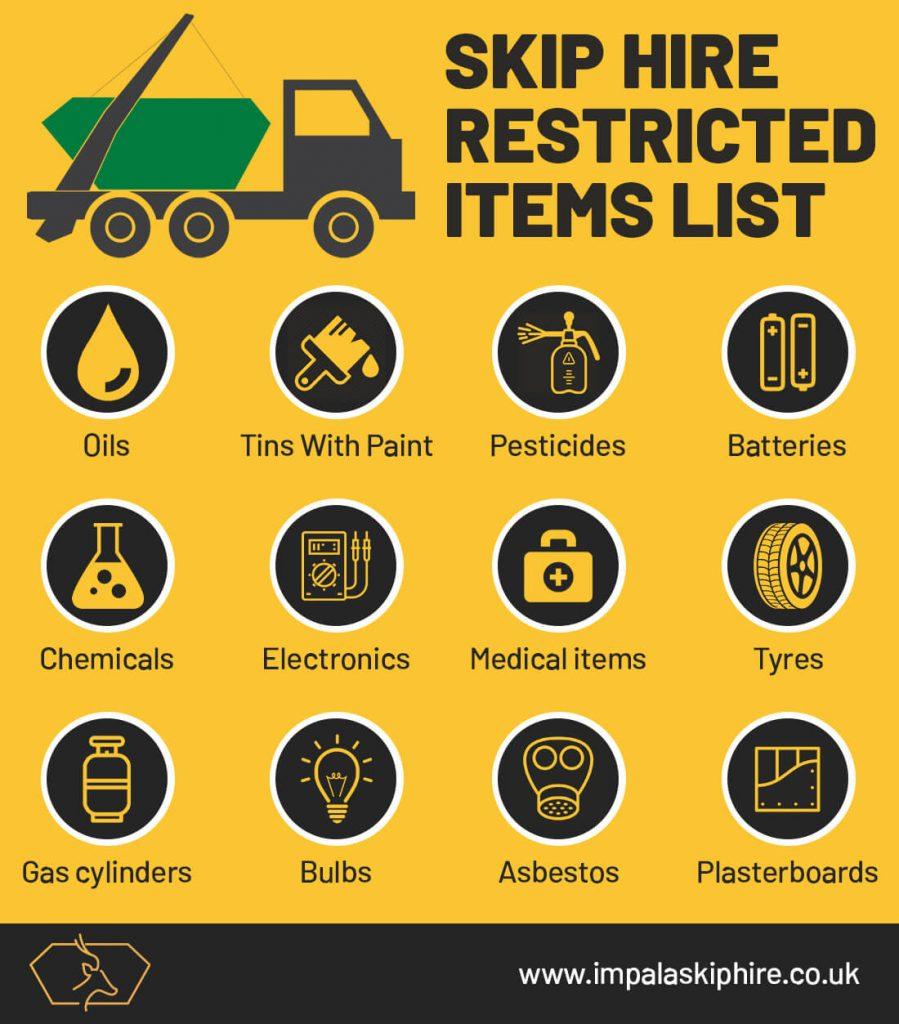 Information for customers about the list of restricted items that are not allowed in the rubbish skip